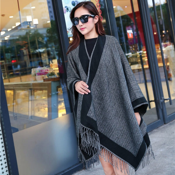 Winter Women Retro Black Grey Double-sided Tassel Poncho Cape Shawl