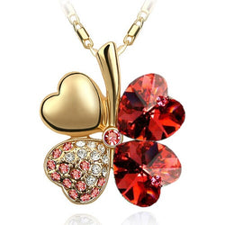 Austrian Crystal 4 four Leaf Leaves Heart Shaped Rhodium Plated Pendant Necklace