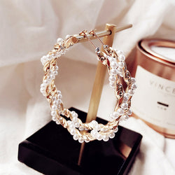Pearl and Metal Hoop Earrings