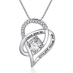 Zircon Stone I Love You to The Moon and Back Necklace Rhodium Plated