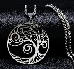 Tree of Life Stainless Steel Big Necklace for Women Silver Statement Necklace