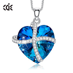 CDE Heart Pendant Necklace Woman White Gold 18K Embellished withCrystals from Swarovski