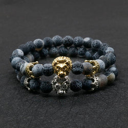 Antique Gold-Colour Buddha Leo Lion Head Bracelet Black Lava Stone Bracelets