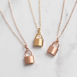 Women Stainless Steel Padlock Love Necklace with 46cm Link Chain