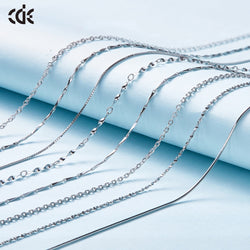 CDE 925 Sterling Silver Necklace Women Long Chain Fine Suitable for Pendants