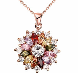 Crystal from Swarovski Mona Lisa Coloured Zircon Pendant Round Flower Moon Round Necklace