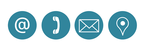 four white contact icons over solid teal circles
