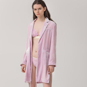 Female silk velvet thickening robe