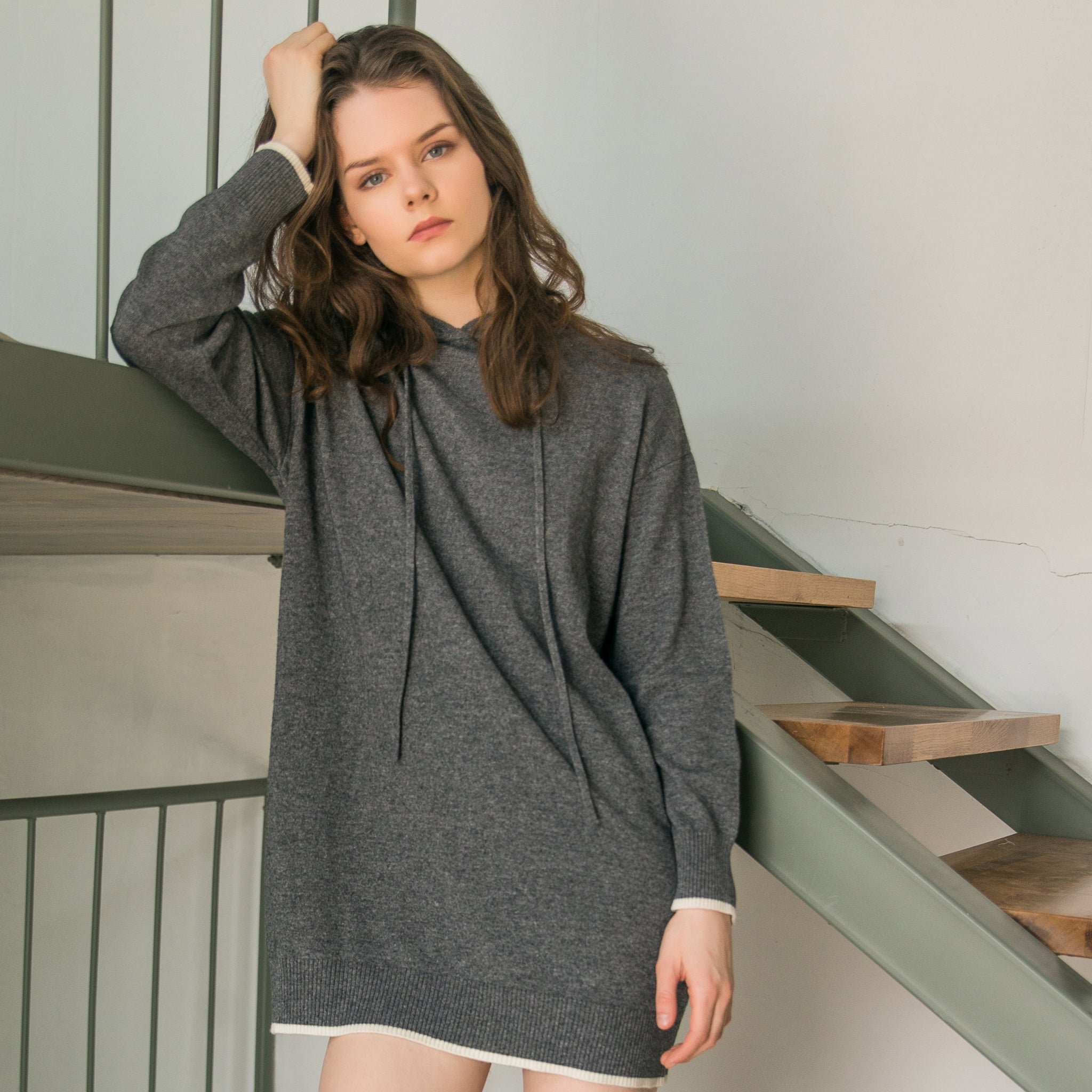 Female's wool knit hooded skirt