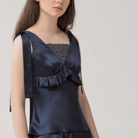 Women's silk lace bow top