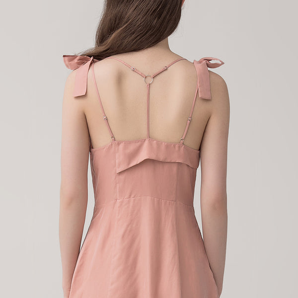 Back T-Strap Designed Bow Dress