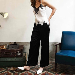 Silk & Lace Wide Trousers