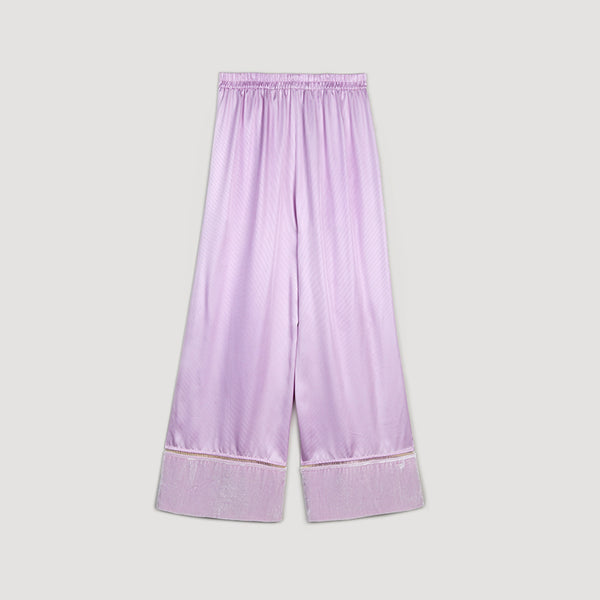 Hem detailed wide legged pants in silk