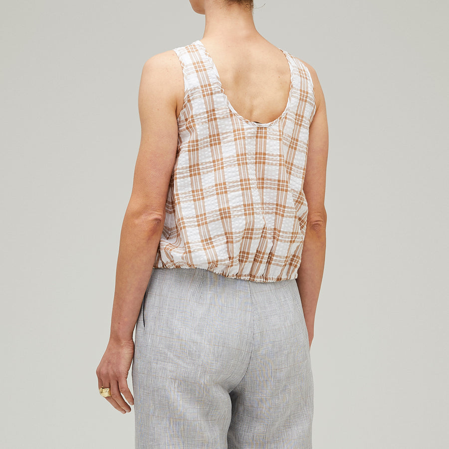 Scallop Bay Top Sand/White Check