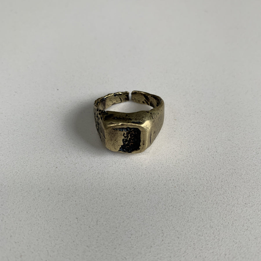 Square Cracked Earth Signet Ring