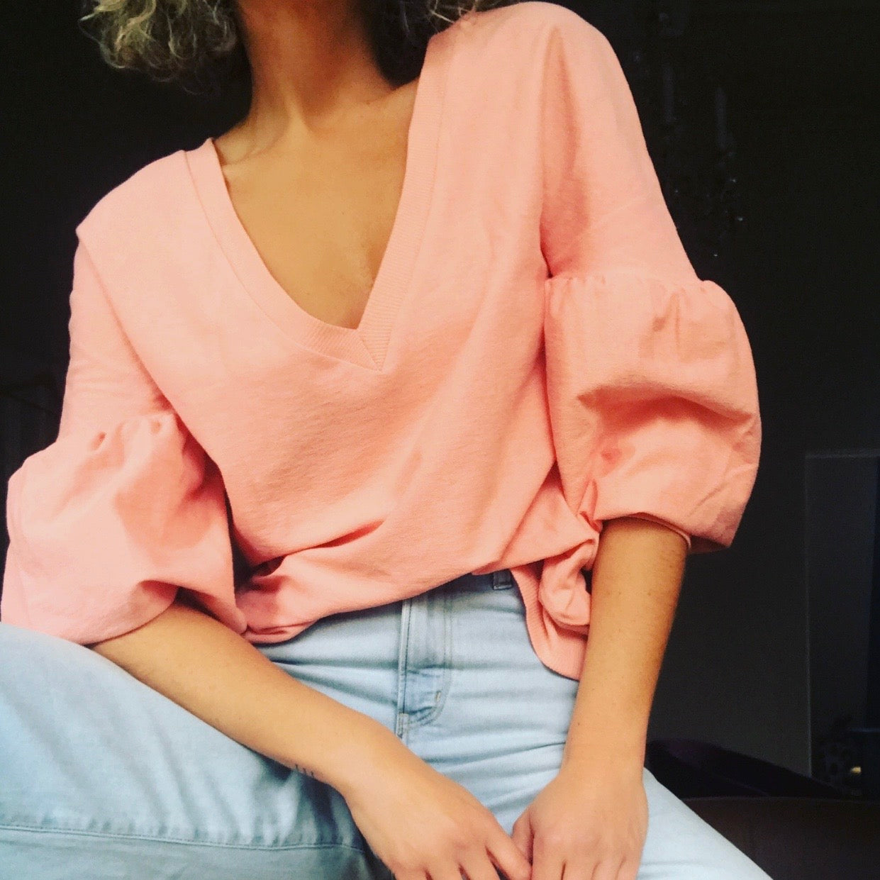 Puff-Sleeve Jersey Top