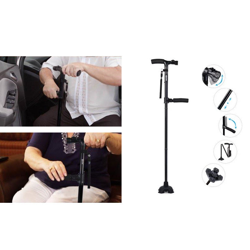 Dual Handle Lightweight Walking Cane Stick with LED Light
