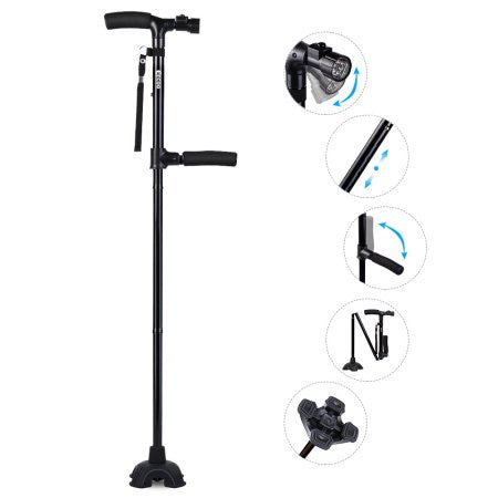 Dual Handle Lightweight Walking Stick Cane with LED Light Two handles - Vydya Health