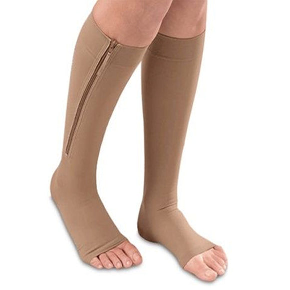 Open Toe Zipper Compression Socks Brown - Vydya Health
