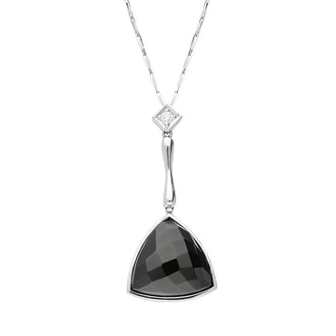 00027020 W Hamond 18ct White Gold Whitby Jet Diamond Faceted Triangle Necklace, JD5_4