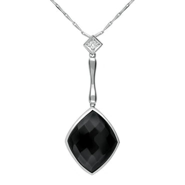 00027040 18ct White Gold Whitby Jet Diamond Faceted Cushion Necklace, JDS_3