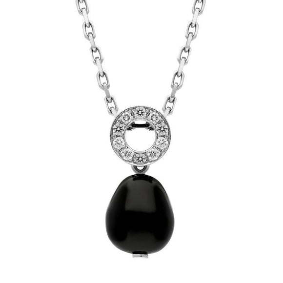 00027352 18ct White Gold Whitby Jet Diamond Bead Pave Set Open Round Top Necklace, PUNQ0000259
