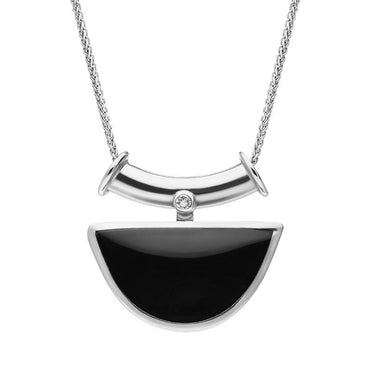 00027365 18ct White Gold Whitby Jet Diamond Unique Semi Circle Necklace, UNIQUE86
