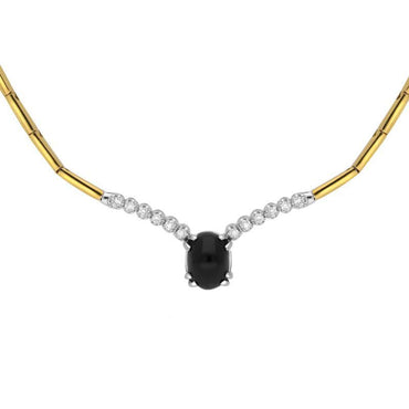 18ct Yellow White Gold Whitby Jet and Diamond Oval Centre Necklace N352B