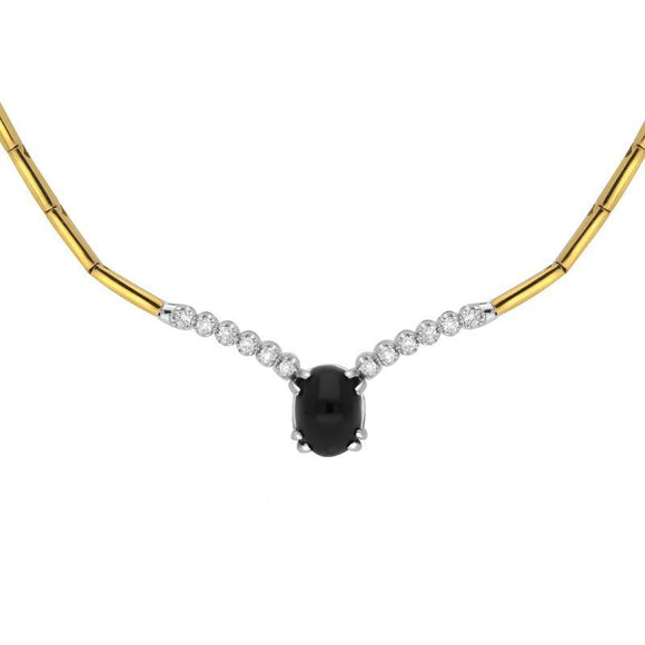 18ct Yellow White Gold Whitby Jet and Diamond Oval Centre Necklace