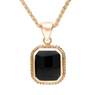 00029754 9ct Rose Gold Square Rope Edge Necklace P050