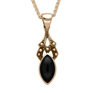 00029763 9ct Rose Gold Whitby Jet Marquise Drop Necklace P089