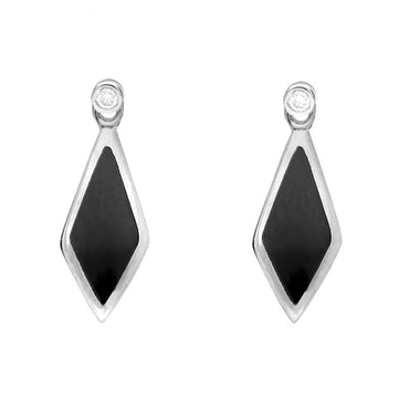 18ct White Gold Whitby Jet and Diamond Dinky Drop Earrings, E647