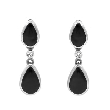18ct White Gold Whitby Jet 0.11ct Diamond Cushion Stud Earrings E703