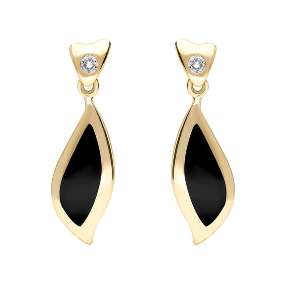 00071066 W Hamond 18ct Yellow Gold Whitby Jet Diamond Leaf Shape Earrings, E740