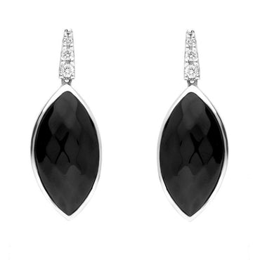 18ct White Gold Whitby Jet Diamond Faceted Long Marquise Earrings, JD3_5