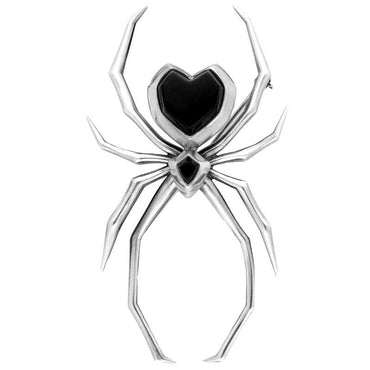 00104838 Unique Gothic Whitby Jet Brooch Spider Silver M300