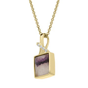 00121544 18ct Yellow Gold Blue John 0.03ct Diamond Faceted Square Necklace PUNQ0004322
