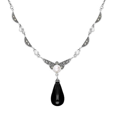 Sterling Silver Whitby Jet Marcasite Pearl Drop Necklace N1051