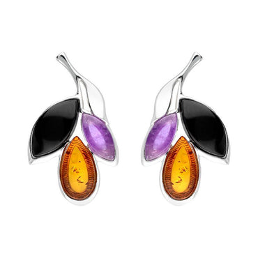 Sterling Silver Whitby Jet Amethyst Amber Three Leaf Stud Earrings E2494