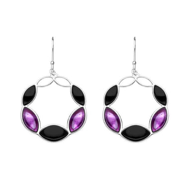 Sterling Silver Whitby Jet Amethyst Five Stone Circle Drop Earrings E2497