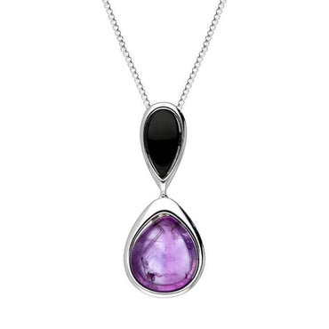 Sterling Silver Whitby Jet Amethyst Double Pear Drop Necklace P2918