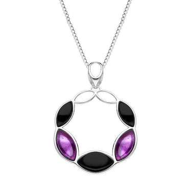 Sterling Silver Whitby Jet Amethyst Five Stone Leaf Circle Necklace P3485