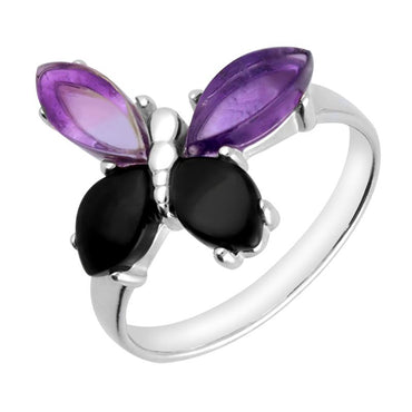 Sterling Silver Whitby Jet Amethyst Small Butterfly Ring R1169