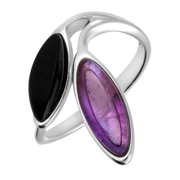 Sterling Silver Whitby Jet Amethyst Two Stone Leaf Ring R1205