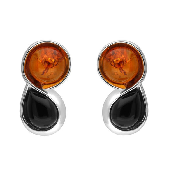 Sterling Silver Whitby Jet Amber Round Pear Stud Earrings E2506