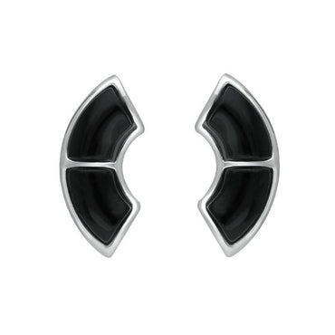 Sterling Silver Whitby Jet Two Stone Oblong Stud Earrings E2507
