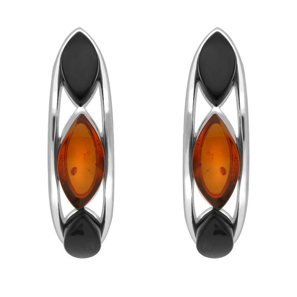 Sterling Silver Whitby Jet Amber Marquise Curved Hoop Earrings E2511