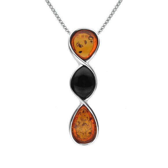 Sterling Silver Whitby Jet Amber Three Stone Pear Twist Necklace P3488