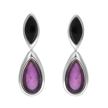 Sterling Silver Whitby Jet Amethyst Two Stone Marquise Pear Drop Earrings E2430