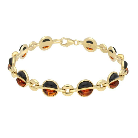 9ct Yellow Gold Whitby Jet Amber Semi Circle Bracelet B1163
